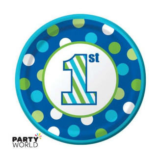 1st Birthday Boy Sweet Stripes Side Plates (8pk)
