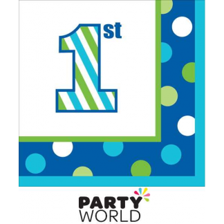 1st Birthday Boy Sweet Stripes Beverage Napkins (16pk)