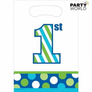 1st Birthday Boy Sweet Stripes Loot Bags (8pk)