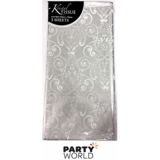 Silver and White Patterned Tissue Paper (3 sheets)