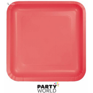 Coral Square 7in Paper Plates (18pk)