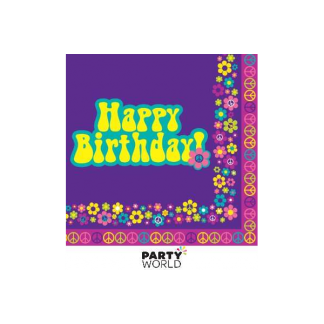 Groovy Happy Birthday Luncheon Napkins (16pk)