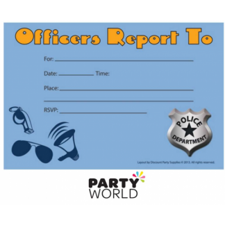 Officers Report Police Party Invites (8pk)