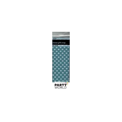 Tissue Gift Wrap Dots - Caribbean Teal (10 Sheets)