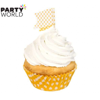 Polka Dot Cupcake Kit - Yellow (24pk)