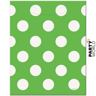 Polka Dot Loot Bags - Lime Green (8pk)