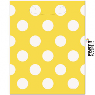 Polka Dot Loot Bags - Yellow (8pk)