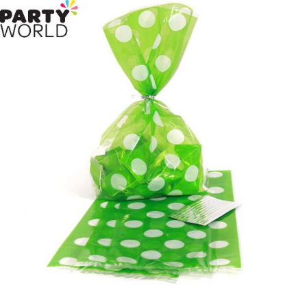 Polka Dot Cellophane Gift Bags - Lime Green (20pk)