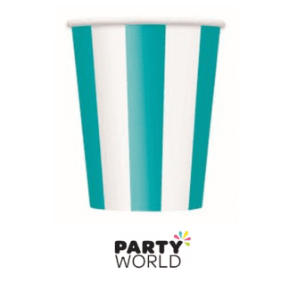 teal striped paper cups