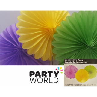 Mini Fans (3 pack) Purple, Yellow, Lime - 6inch