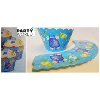 Blue Clothesline Baby Shower Cupcake Wrappers (12)