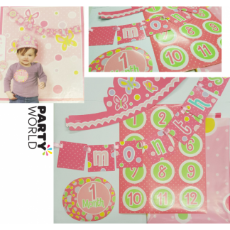 Baby Girl First Year Monthly Photo Kit