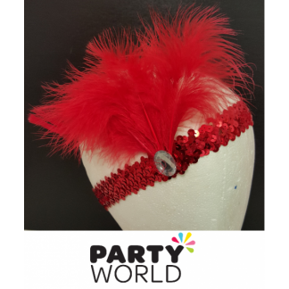 Red Charleston Flapper Feather Headpiece