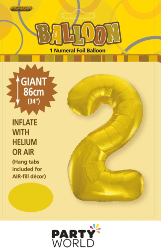 2 giant foil number gold
