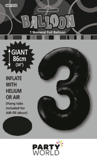 3 giant foil number black