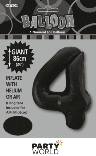 4 giant foil number black