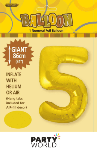 5 giant foil number gold