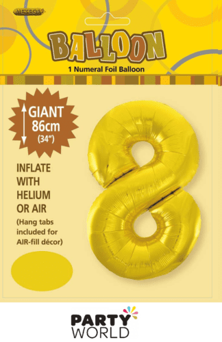 8 giant foil number gold
