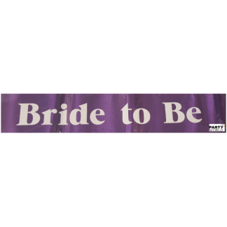 Bride To Be Sash - Purple with White Font