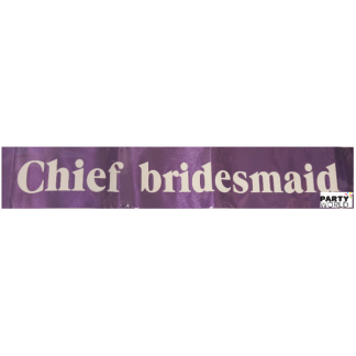 Chief Bridesmaid Sash - Purple with White Font