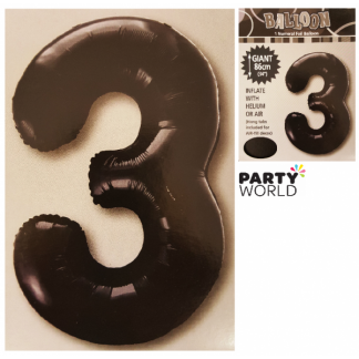 Giant Black Foil Number Balloon - 3