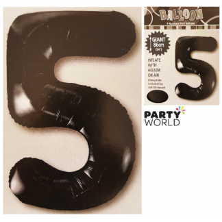 Giant Black Foil Number Balloon - 5