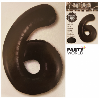 Giant Black Foil Number Balloon - 6