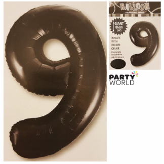 Giant Black Foil Number Balloon - 9
