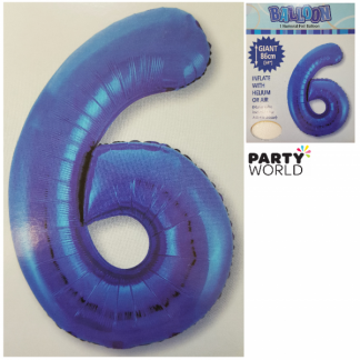 Giant Blue Foil Number Balloon - 6
