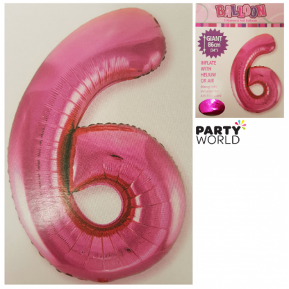 Giant Hot Pink Foil Number Balloon - 6