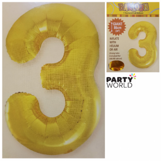 Giant Gold Foil Number Balloon - 3