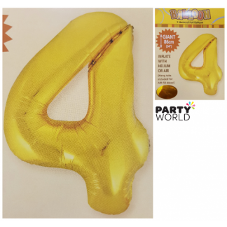 Giant Gold Foil Number Balloon - 4
