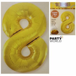 Giant Gold Foil Number Balloon - 8