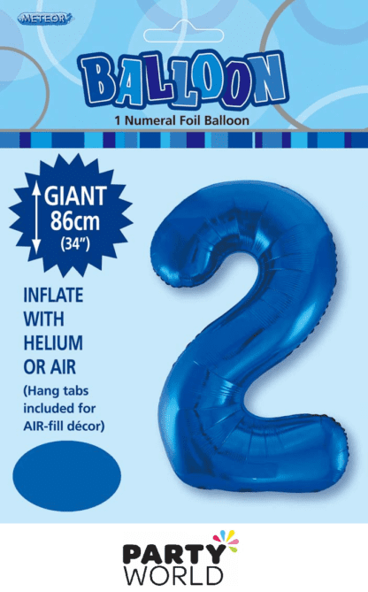 2 giant foil number blue