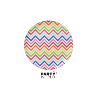 Rainbow Chevron Paper Plates 7in (8)