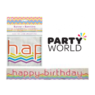Rainbow Chevron Happy Birthday Foil Banner