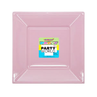 Lovely Pink Square Plastic Plates 7inch (8)