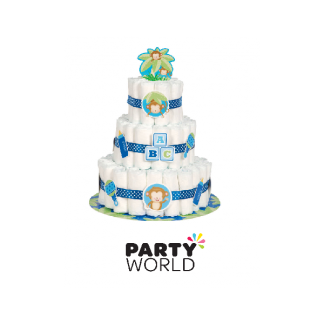 Blue Monkey Diaper Cake Kit