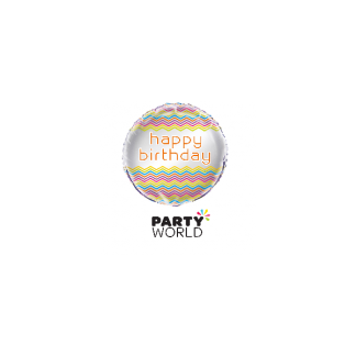 Rainbow Chevron Happy Birthday Foil Balloon