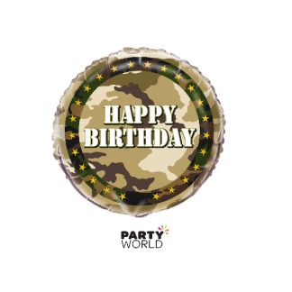 Happy Birthday Military Camo Foil Balloon