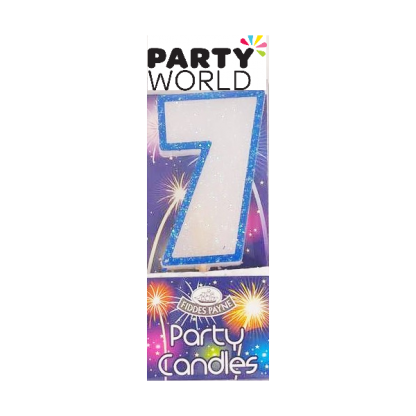 Candle Glitter Blue Number 7