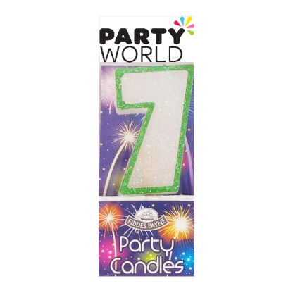 Candle Glitter Green Number 7