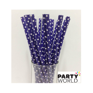 Royal Blue Polka Dot Paper Straws (20)