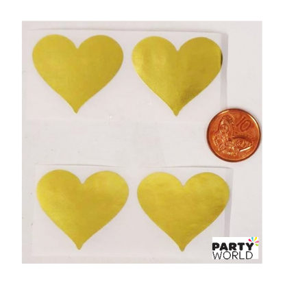 Gold Heart Stickers (10)