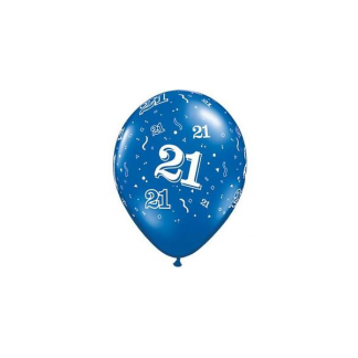 Qualatex 11in Pearl Sapphire Blue Latex 21st Balloons (5pk)