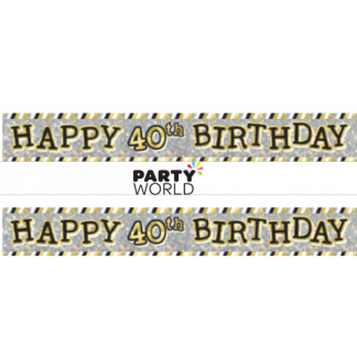 Happy 40th Birthday Holographic Banner