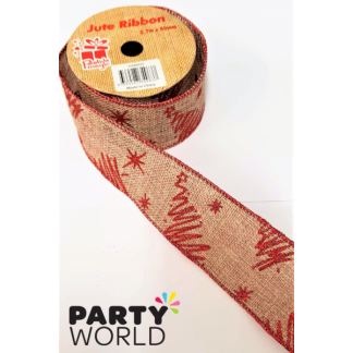 Christmas Jute Ribbon 2.7m x 50mm
