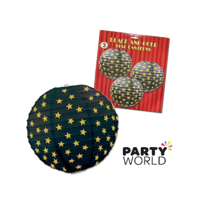 Black Paper Lanterns With Gold Stars (3)