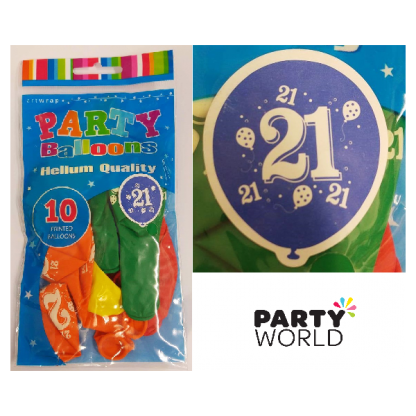 21st Latex Balloons Assorted (10)