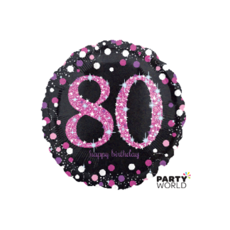 Pink Celebration 80th Birthday Foil Balloon